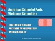 HEALTH CARE IN FRANCE - American School of Paris