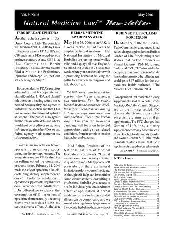 Natural Medicine LawTM Newsletter - Dietary Supplement ...