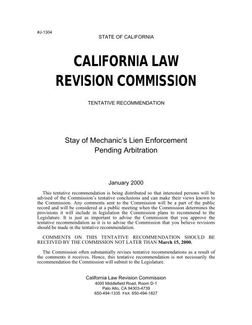 Tentative Rec  - California Law Revision Commission - State