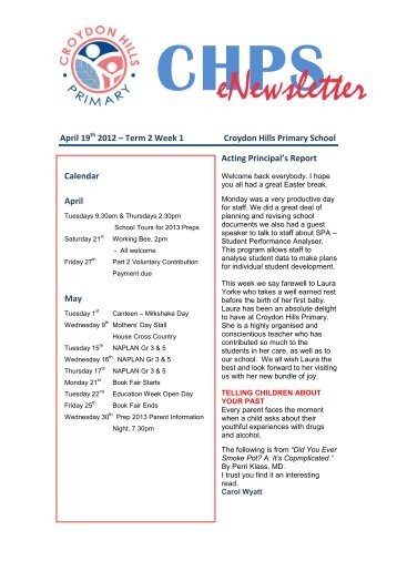 eNewsletter - Croydon Hills Primary School