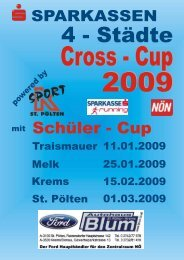 Ausschreibung Spark. 4-Städte Cross-Cup 2009 - Union Traismauer