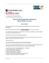Network Marketing Businesses Make a Lot of Dollars & Sense