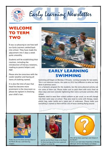 Early Learning News Term 2 - Croydon Hills Primary School