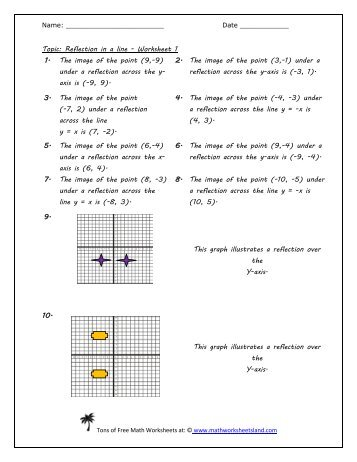 reflection in a line worksheet five pack version 2 math - Reflections Worksheet