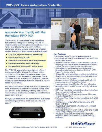 PRO-100™ Home Automation Controller Automate Your Family with ...