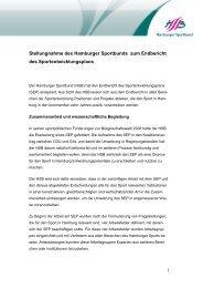 Stellungnahme des HSB zum ... - Hamburger Sportbund e.V.