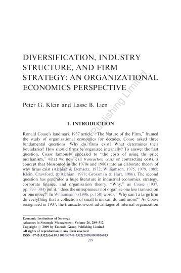 Diversification, industry structure, and firm strategy - WordPress ...