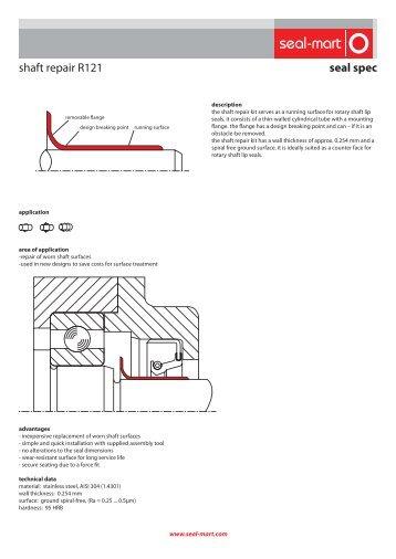 seal spec shaft repair R121 - seal-mart