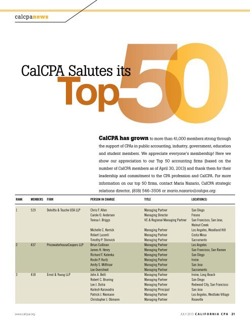 Our Top 50 Firms - California Society of CPAs