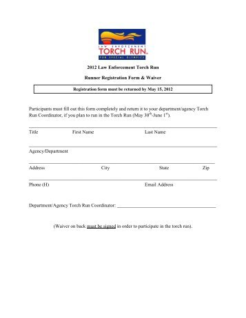 2012 Law Enforcement Torch Run Runner Registration Form ...