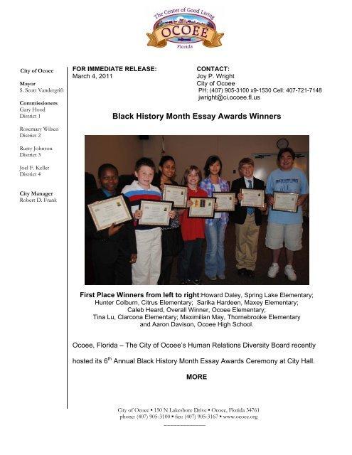 Importance Of Good Health Essay  How To Learn English Essay also Sample English Essays Black History Month Essay Awards Winners  City Of Ocoee English Debate Essay