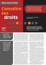 Connaître ses droits 1 : Le dévoilement de l'infection à VIH en milieu ...