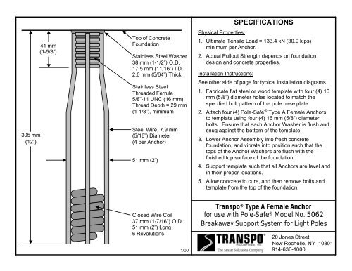 SPECIFICATIONS Transpo® Type A Female Anchor for use with