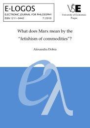 What does Marx mean by the - Vysoká škola ekonomická v Praze