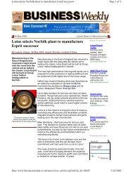 Lotus selects Norfolk plant to manufacture Esprit successor