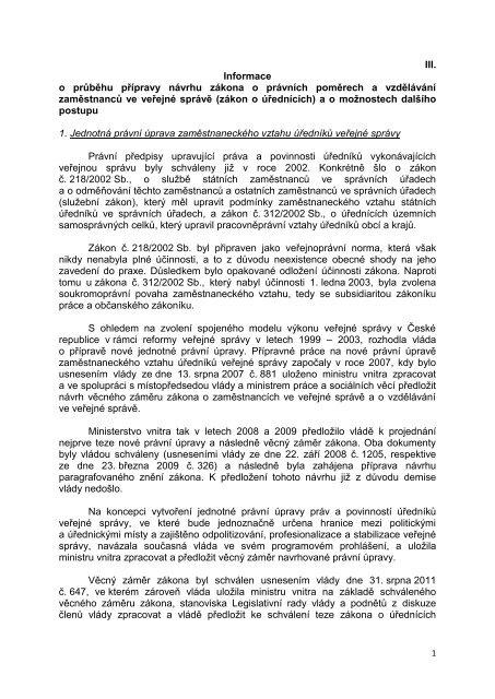 III. Informace o průběhu přípravy návrhu zákona o ... - Bezkorupce
