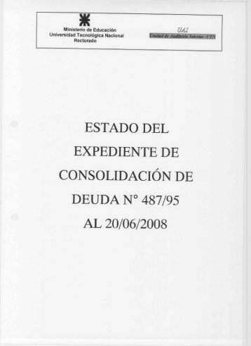 ESTADO DEL EXPEDIENTE DE - Universidad Tecnológica Nacional