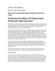 Pemberian Sertifikat LPI Departemen Kehutanan Dipertanyakan