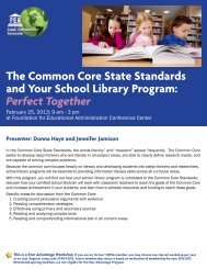 The Common Core State Standards and Your School Library Program