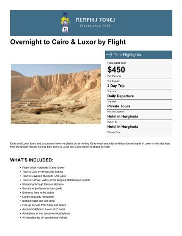 Overnight to Cairo & Luxor by Flight - Memphis Tours Egypt