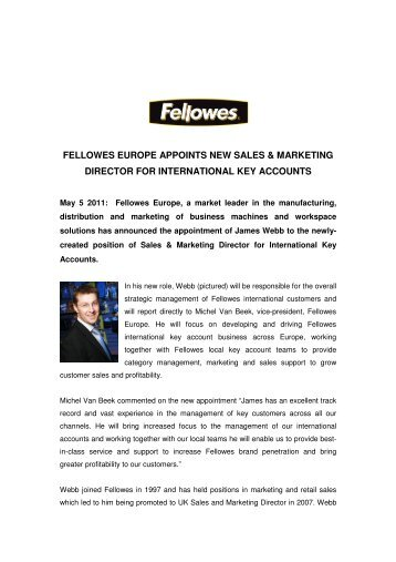 fellowes europe appoints new sales & marketing director for ...