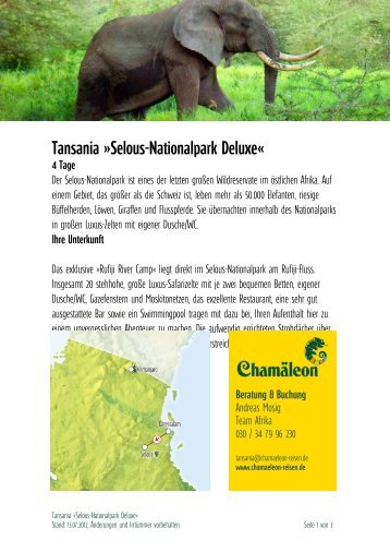 Tansania »selous-Nationalpark Deluxe«