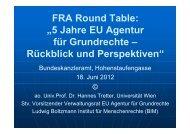 FRA Round Table - Ludwig Boltzmann Institut für Menschenrechte
