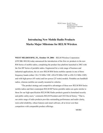 Introducing New Mobile Radio Products Marks ... - RELM Wireless