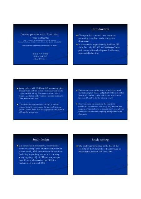 Introduction Study design Study setting