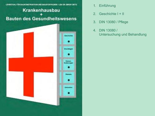 1. Einführung 2. Geschichte I + II 3. DIN 13080 / Pflege 4. DIN 13080 ...