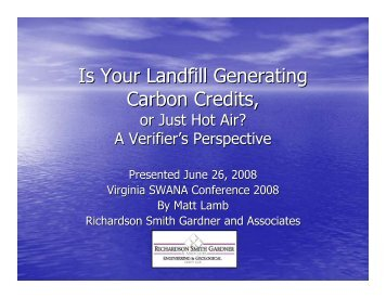 Is Your Landfill Generating Carbon Credits, or Just ... - Smith+Gardner