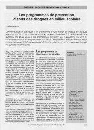 Les programmes de prévention d'abus des drogues en milieu scolaire