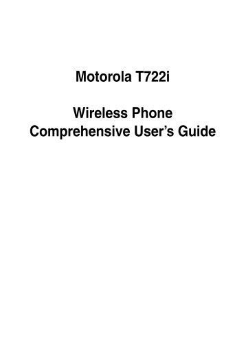 Motorola T722i Wireless Phone Comprehensive ... - Telekomunikacije