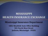 Miss. Health Insurance Exchange Presentation - Mississippi ...