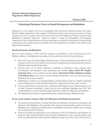 Colonizing Christmas: Facts on Israeli Occupation and Bethlehem