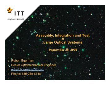 Assembly, Integration and Test Large Optical Systems - NASA
