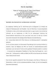 Prof. Dr. Gerd Stein Rede zur Verleihung des Dr ... - Karl-Rudolf Korte