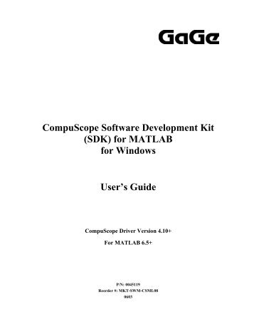 CompuScope SDK for M.. - Egmont Instruments
