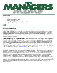 PDPW Managers Memo ~ May 9, 2012 (pdf) - Professional Dairy ...