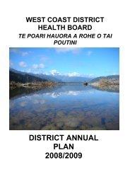 WCDHB District Annual Plan: 2008 - West Coast District Health Board