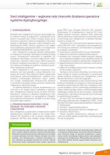 Sieci inteligentne – wybrane cele i kierunki działania operatora ...