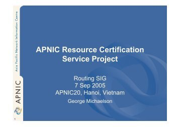 APNIC Resource Certification Service Project