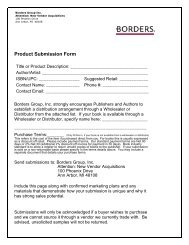 Product Submission Form - Borders