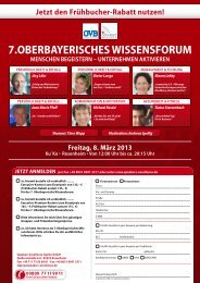 7. OBERBAYERISCHES WISSENSFORUM - Speakers Excellence