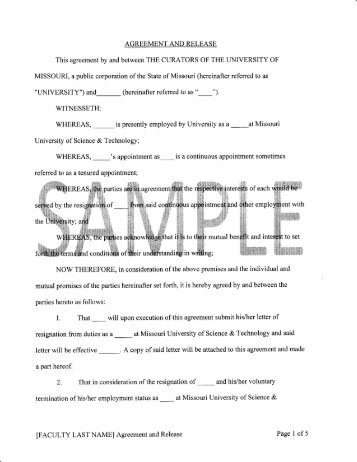 Separation Agreement Template Mutual Separation Agreement And