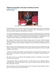 Vigorous promotion only way to develop tourism` - Tanzania Tourist ...