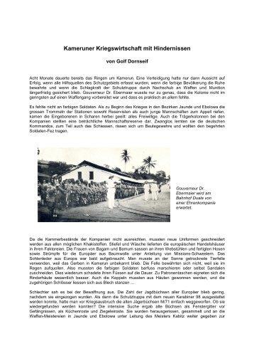 Kameruner Kriegswirtschaft mit Hindernissen - Golf  Dornseif