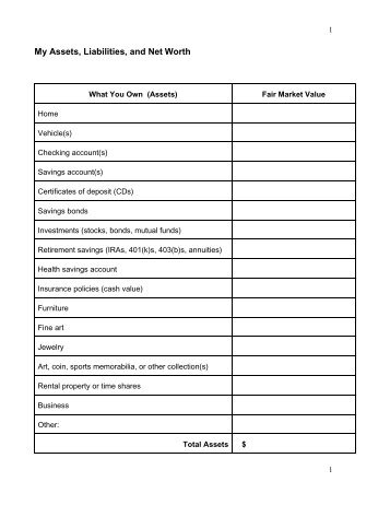 My Assets, Liabilities, and Net Worth Worksheet