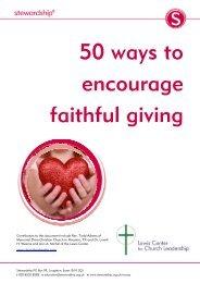 Stewardship 50 ways to encourage faithful giving