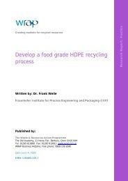 Develop a food grade HDPE recycling process - Wrap